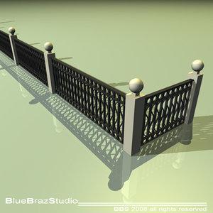 railing iron balcony 3d model