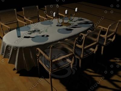 3d table nappe verres