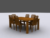 diner table chair 3d 3ds