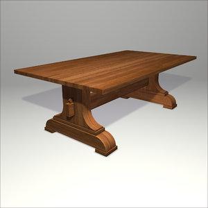 3d trestle table model