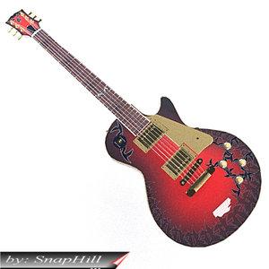 3d model gibson lespaul guitar tribal