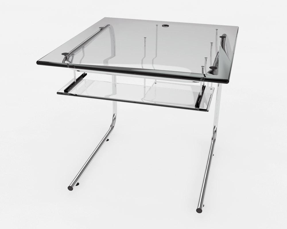 3dsmax glass computer desk