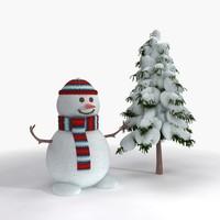 3d snowman christmas tree model
