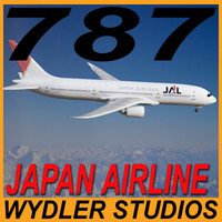 3d model 787-3 japan airline