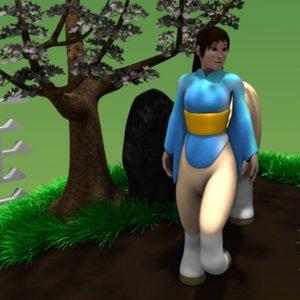 3d model japanese female centaur human