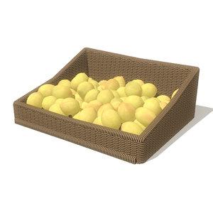 3d model lemons basket