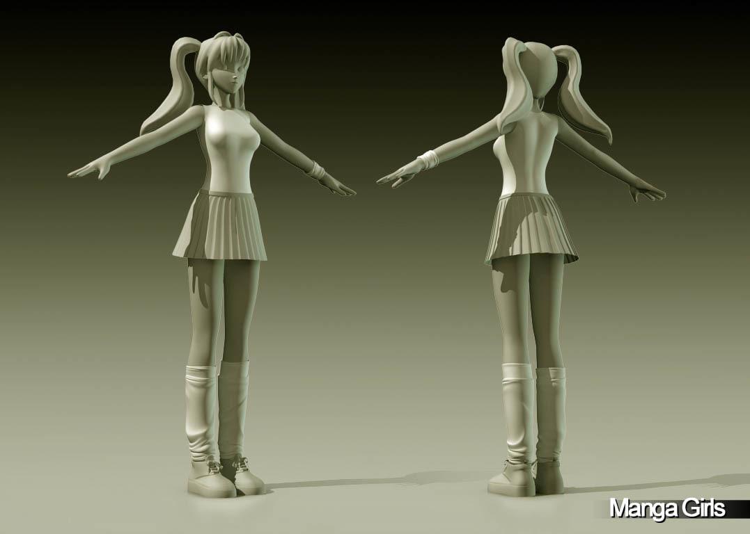 manga girl hiroki 3d model