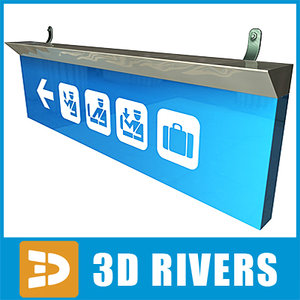 arrival airport sign 01 3d model