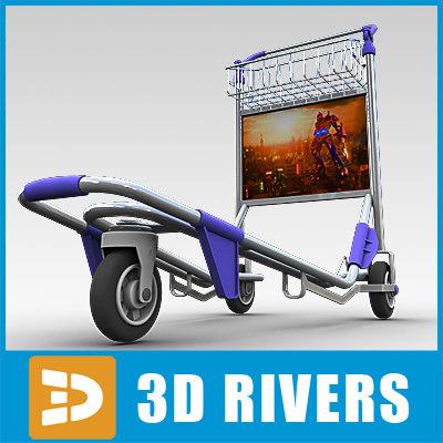 3d hand cart airport model