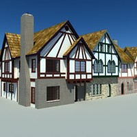 old world european townhouses 3d max
