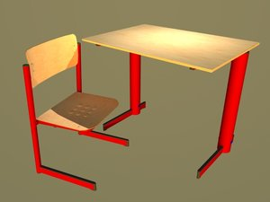 style furniture school chair 3d model
