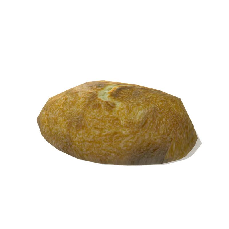 3d model loaf bread 2