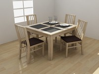 atlantis dining set furniture 3d model
