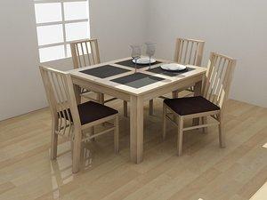 atlantis dining set furniture 3d model