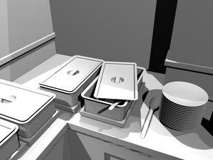 3d model buffet scene