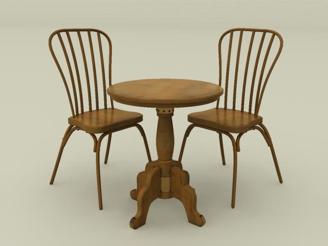 max wooden cafe chair table set