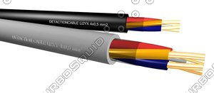 3d detaction cable li2yx 4x05mm2 model