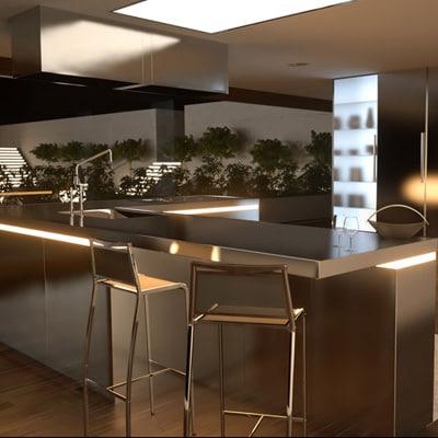 3d model kitchen section
