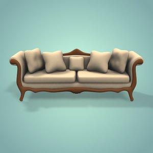 3d model old sofa simple
