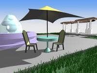 outdoor set pergola s 3d max