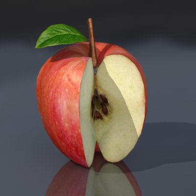 3d model of fruits sliced