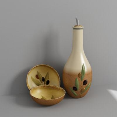 olive oil bottle bowls 3d model