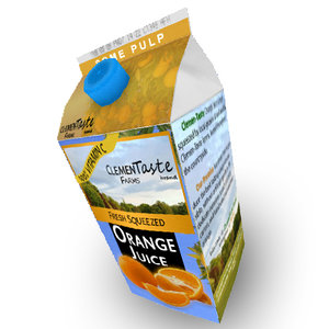 3d orange juice carton model