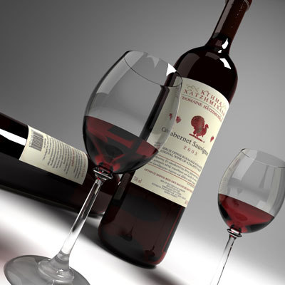 3d wine glass red