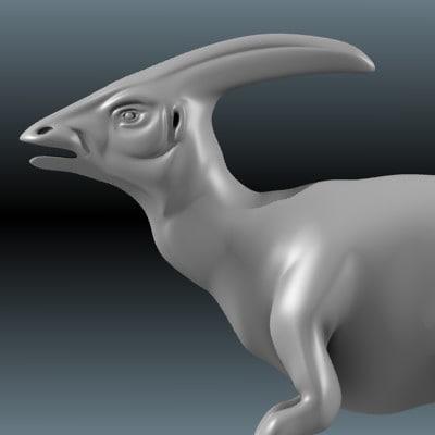 3d dinosaur parasaurolophus