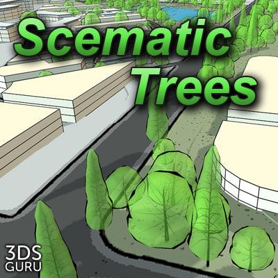 3d schematic trees model