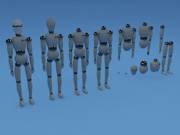 3d model 15 body parts robots