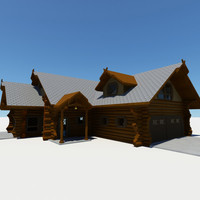 3d shire log home model