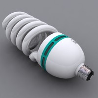 3d compact fluorescent lightbulb light model