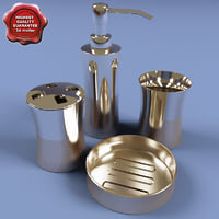 3d stainless steel bath set model