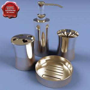 3d stainless steel bath set model