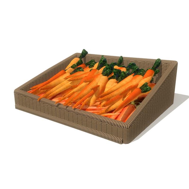 3d model carrots basket