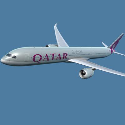 3d model a350-1000 qatar