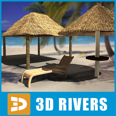 beach umbrella deck chair 3d model