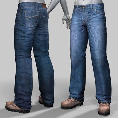man jeans boots 3d model