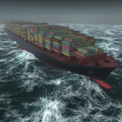 megapott container ship class 3d model