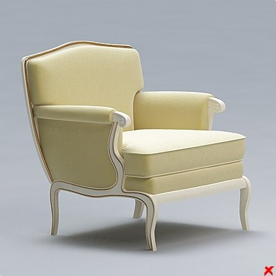 3d model armchair old fashioned