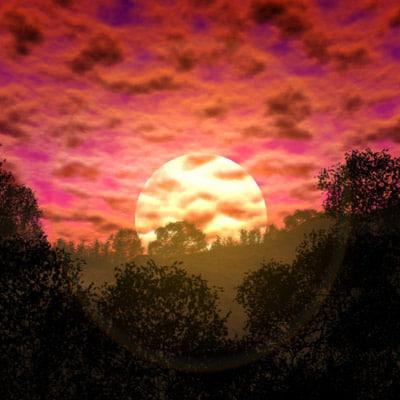 3ds max sunset sun