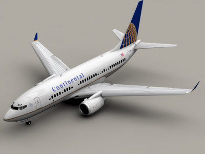 b 737-700 continental airlines 3d 3ds