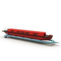 3d model canal boat trailer