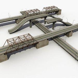 bridge road highway 3d model