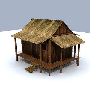bamboo buildings jungle 3d ma