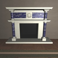 marble fireplace obj