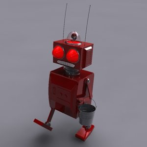 3d red little model