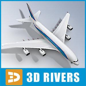 3d airbus a380 blue lines model