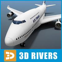 3dsmax b-747 passenger air aircraft